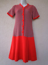 Vintage 1960s SCOOTER DRESS Wool Knit Pleated Skirt Red & Gray Stripes MOD S M