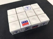 "One Dozen WHITE Silver Cup Pool Cue Chalk . ""12 cubes"" Q Chalk billiards chalk"
