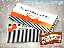 PERSONALISED Ribbon Bow CHOCOLATE BAR WRAPPER fits Galaxy 110g Birthday Gift