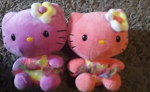 Hello kitty plush bundle 2 x tropical pink and purple collectables    14 cm tall