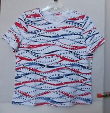 Studio Works Size 1X Patriotic star & stripe abstract knit top, short sleeve NWT