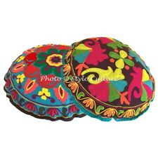 Ethnic Round Embroidered Floor Cushion Cover Seat Pouffe Floral Cotton 18x18