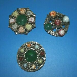 3 Scottish Agate Brooches - various designs and multi stones Celtic style Retro