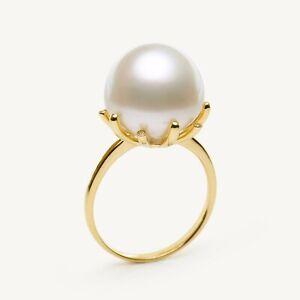 Big 13.7MM Cream White Australia South Sea Pearl Ring 14K Solid Yellow Gold 6.5#