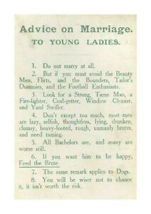 Suffragette Marriage Advice A4 reproduction poster with choice of frame