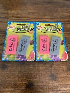 NEW 2x Sanford Foohy Scented Block Novelty Erasers 2006 ~ Watermelon & Grape