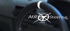 FITS 1998+ PEUGEOT 206 HDi SW CC BLACK LEATHER STEERING WHEEL COVER +WHITE STRAP