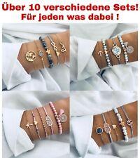 5 teiliges Armband Set Armreif Bohemian Indi Modeschmuck Glitzer Herz Welt Love