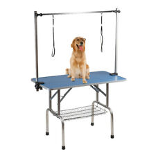 "BTM Folding Dog Pet Grooming Bath Table Portable Adjustable Height Arm Non Slip 36"" Blue"