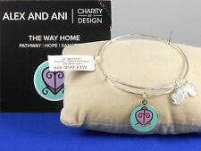 Alex And Ani Shiny Silvertone CBD THE WAY HOME SCARAB Charm Adjustable Bracelet