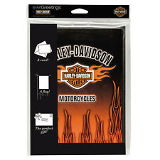 NEW $24.95 HARLEY DAVIDSON GREETING CARD WITH DOUBLE SIDED FLAG INSIDE 12 X 18