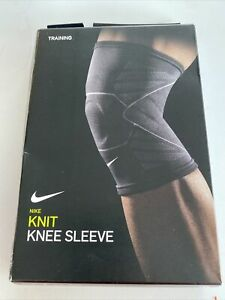 Nike Advantage Knit Knee Sleeve Black Knitted Training Support Compression Sz L