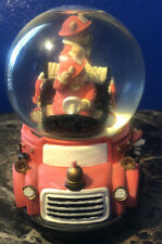 Teddy Bear Fireman FireTruck Music Box Snow Globe Dalmation Puppy Snowdome