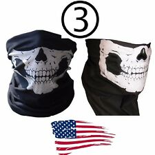 3  Skull Face Mask Neck Warmer Harley Motorcycle chopper Scarf  Bandana Hunting