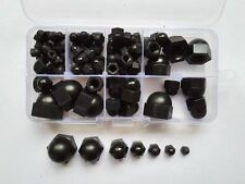 100pcs M3/M4/M5/M6/M8/M10/M12 Nylon Cap Hex Nut Black Hexagonal Nuts Assortment