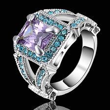 Purple Amethyst&blue Engagement Ring White Rhodium Plated Wedding Band Size 8