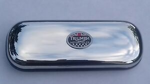 Triumph oval MOTORBIKE  brand new chrome glasses case great gift!!!Christmas