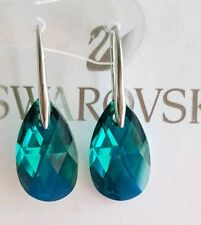 925STERLING Silver Crystal Drop Earrings Genuine Swarovski element Emerald Green