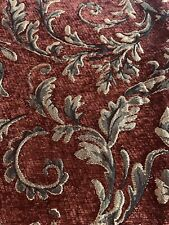 Leafy Brocade Baroque Fabric Chenille Brown Gold Black Remnant 60�x19�