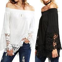 UK  Women Boat Neck Lace Crochet Flare Sleeve Party Clubwear Tops T-Shirt Blouse