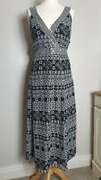 DEBENHAMS (UK Size 18) Black & White Geometric Patterned Midi Summer Dress