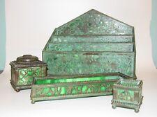 Antique Riviere Studios NY grapevine bronze glass inkwell desk set