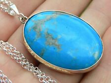 Handcraft Necklace brass pendant large turquoise gem stone sterling silver chain