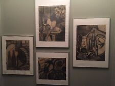 SET OF 4 !!! Vintage charcoal drawing - ABSTRACT STILL ALIVE by Sabina Frank