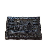 Black Exotic Wood Hand Carved Calling Card Case Castle Read Description