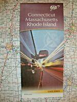 CONNECTICUT MASSACHUSETTS RHODE ISLAND STATE MAP Road Street 2020 AAA CT MA RI