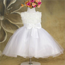 Xmas Kids Girl White Princess Dress Wedding Bridesmaid Party Flower TuTu Dress