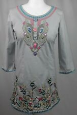 WOMEN Floral Embroidered Tunic Grey Top Blouse Beads Embellished Size L Small