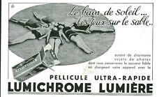 Publicité ancienne pellicule photo LUMICHROME  lumière bain 1933