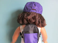 3-Piece Set! Purple Baseball Cap, Purple Backpack & Shoes fits American Girl