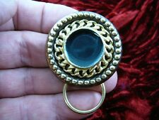 (E-370) Black enamel round braided rope Eyeglass pin pendant ID badge holder