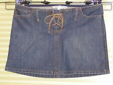 AMBERCROMBIE & FITCH Mini Skirt with LEATHER TIE FLY Womens Size 0 Denim Jeans