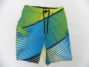 """Quiksilver Tiger Stripes Blue and Lime Green 22"""" Boardshorts sz 32"""