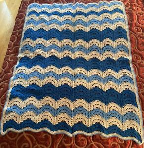 """Hand Knit Afghan Baby Shower Lap Blanket Light Dark Blue White 60"""" X 48"""" Knitted"""