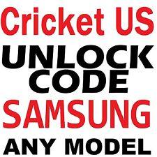 Unlock Code for Cricket USA All Samsung Galaxy Mega Light Avant Galaxy S3 S4 S5