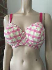 M&S Marks Spencer CERISO pink check bra vintage style padded multiway 36E 36 E