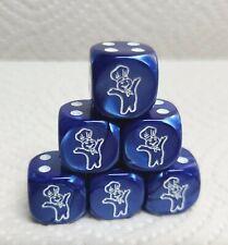 Dice -(6) Chx Custom *Pillsbury Doughboy*>16mm Velvet Blue w/White Doughboy #1