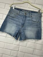 American Eagle Women's Super Stretch Jean Shorts Size 10 Distressed Blue