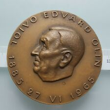 """Finland J. Vikainen 1965 Bronze Art Medal """"T. Edvard Olin"""" 72 mm, 184 gr."""