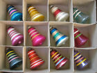 Vintage Shiny Brite Christmas Tree Striped Bell Ornaments (12) Boxed