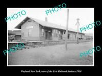 OLD LARGE HISTORIC PHOTO OF WAYLAND NEW YORK, ERIE RAILROAD STATION c1910