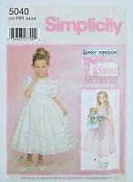 "Simplicity 5040 Daisy Kingdom Fancy Dress Sewing Pattern Girl Sz 3-6 & 18"" Doll"