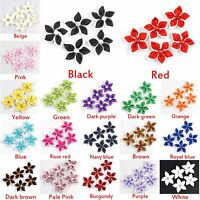 DIY 15-30PCS Satin Ribbon Flower with Crystal Bead Appliques~Craft/Trim Wedding