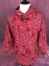 LL Bean Vintage Womens Small Nylon Hooded Red Coat Jacket Christmas Theme