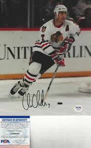 Chicago Black Hawks CHRIS CHELIOS autographed 8x10  action photo PSA DNA Cert