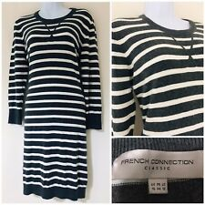 French Connection Jumper Dress Size 16 Women's Winter Stripy Grey Christmas Xmas
